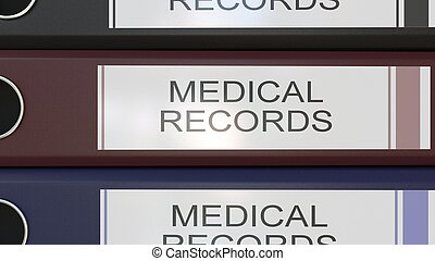 Vertical stack of multicolor office binders with Medical...
