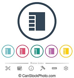 Vertical tabbed layout active flat color icons in round outlines. 6 bonus icons included.