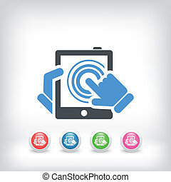 Vertical tablet touch - Illustration of vertical tablet...