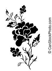 vertical, tatt, modèle fleur, rose