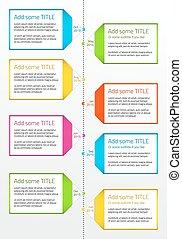 Vertical timeline with boxes for large description -...