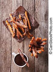 vertical, topo,  churros, quentes,  chocolate, vista