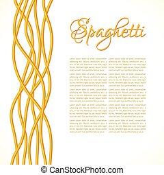 vertical, torcido, pastas, realista, espaguetis, composición