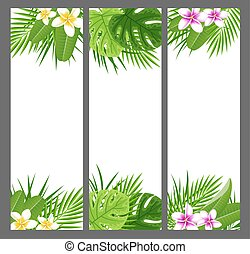 vertical, tropical, banderas, con, flores