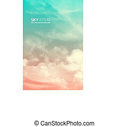 Vertical vector background with realistic pink-blue sky and clouds.