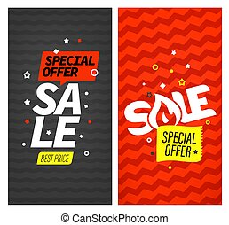 Vertical vector banners. Sale. Special offer