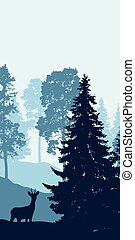 Vertical vector illustration of winter landscape with ...