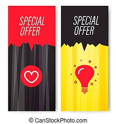 Vertical vector special offer banners set