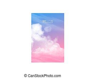 vertical, vetorial, fundo, com, realístico, pink-blue, céu,...