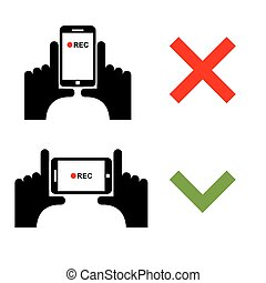 Vertical video shoot impossible. Horizontal recording correctly. Sign template for shooting on smartphone camera