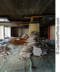 Vertical view of abandoned interior of a business store