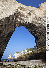 Vertical view of Chalk cliffs at Cote d'Albatre (Alabaster Coast). Etretat, France