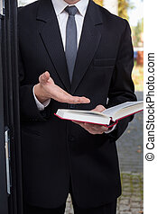 Jehovah's witness evangelizing - Vertical view of Jehovah's...