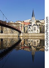 vertical view of Lyon and Saone River in France