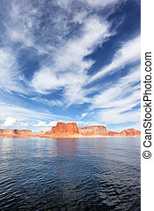 vertical view of the lake Powell