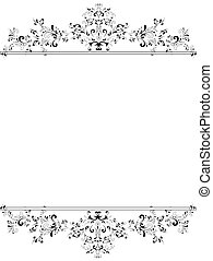 vertical, vindima, floral, quadro, em, preto branco