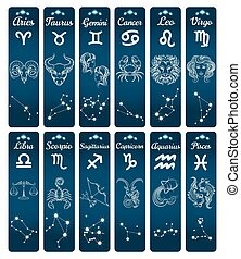 Vertical zodiac signs banners