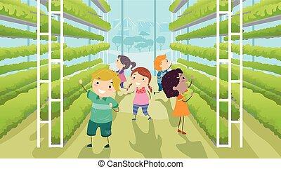 verticale, bambini, stickman, giardino, illustrazione