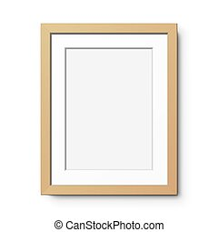 verticale, bianco, wall., cornice legno, appendere