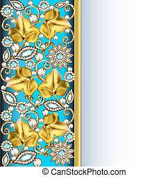 verticale, fondo, cornice, con, gioielli, di, ornamenti