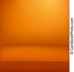 verticale, illuminato, stage., vettore, pubblicità, sagoma, arancia, illustration.