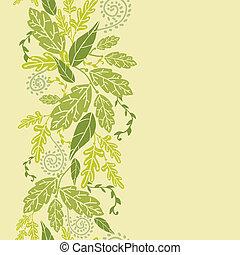 verticale, modello, foglie, seamless, sfondo verde, bordo