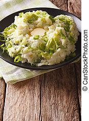 verticale, patata, piatto, pietanza, closeup, colcannon, tavola.