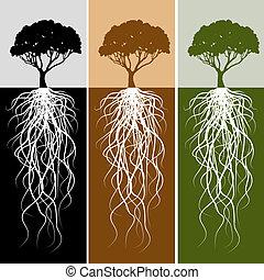 verticale, radice albero, bandiera, set