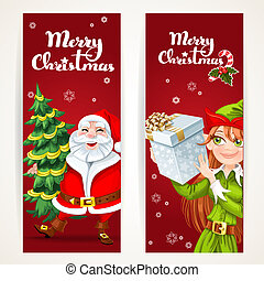 verticale, regalo, claus, elfo, due, natale, santa, fondo, vuoto, bianco, bandiere