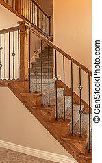 verticale, tappezzato, ringhiera, cornice, metallo, nuovo, legno, ringhiera, casa, scale, dentro, vuoto