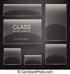 verticale, trasparente, vetro, vettore, bandiere, orizzontale