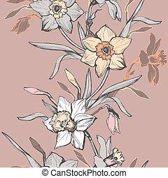 verticale, tromboni, seamless, mano, narcissus., floreale, disegnato, fiori, bordo