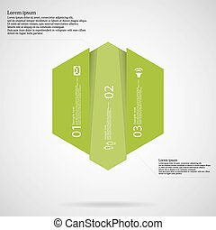 vertically, del, dele, tre, infographic, grønne, skabelon, hexagonal