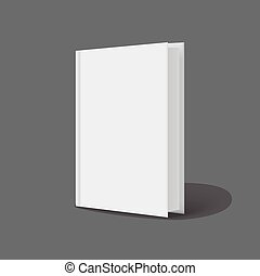 Vertically standing template books on a gray background....