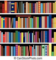 verticalmente, horizontally., seamless, textura, experiência., vetorial, livros, estante