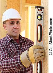 verticalmente, nível, verificar, construtor, wall's, tubo