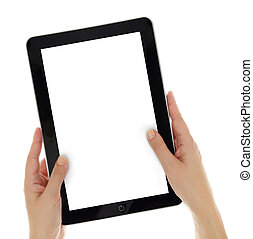 verticalmente, tenencia, tableta, pantalla, manos, aislado, hembra, blanco