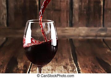 vertido, rojo, botella, vino