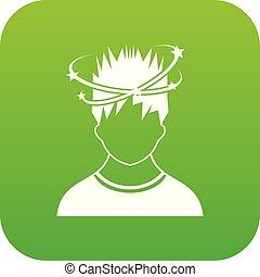 vertige, homme, vert, icône, numérique