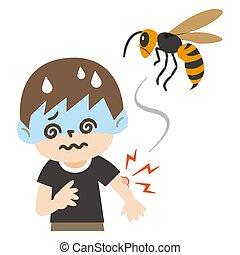 vertiginoso, illustrazione, pungiglione, ragazzo, ape
