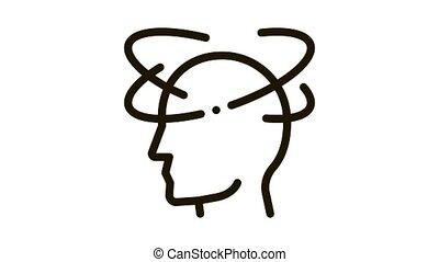 Vertigo Dizziness Man Silhouette Headache animated black icon on white background