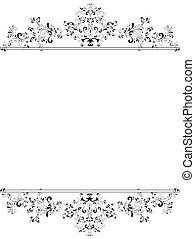 vertikal, årgång, ram, svart, blommig, vit
