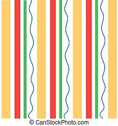 vertikal, apelsin, röd, stripes, vågig, grön, mönster