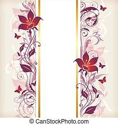 vertikal, baner, med, violett, och, rosa blommar