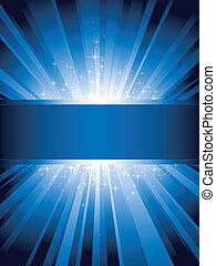 vertikal, blåa lätta, brista, med, stjärnor, och, copy-space