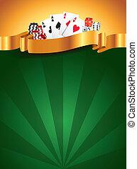 vertikal, kasino, grön, lyxvara, bakgrund
