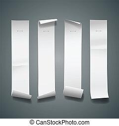 vertikal, länge, papper, vit, rulle, storlek