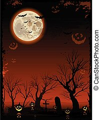 vertikal, träd, halloween, kuslig, bakgrund, apelsin