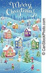 vertikal, vinter, card, jul
