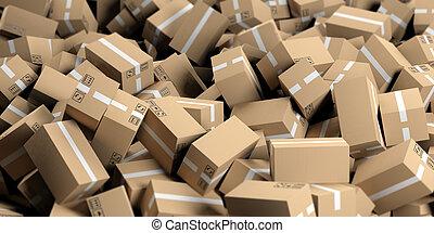 vertolking, dozen, verhuizing, achtergrond, 3d